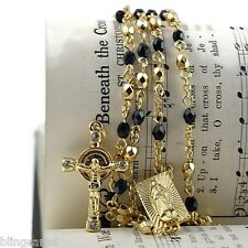 "Jesus Crucifix Virgin Mary Black Gold Finish Rosario La Virgen 24"" Cross Rosary"