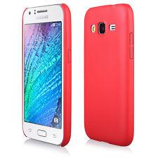 Coque rigide Leather-Look aspect cuir coloris rouge pour Samsung Galaxy J1