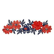 ID 1085Z Flower Patriotic America USA Daisy Embroidered Iron On Applique Patch