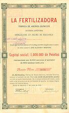 La Fertilizadora, Fabrica de Abonos Quimicos SA, accion, Palma de Mallorca, 1913