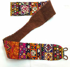 Colorful Vintage banjara leather belt Indian tribal gypsy boho mirror work