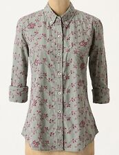 Oddile Embroidered Eyelet Buttondown Shirt Size 0 Green NW ANTHROPOLOGIE Tag