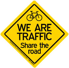 We Are Traffic - Share The Road - Small Bicycling Bumper Sticker / Decal