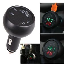 12/24V 3in1 Digital Volt Voltmeter Thermometer Cigarette Lighter USB Car Charger