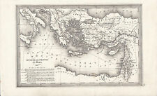 c1840 VICTORIAN MAP VOYAGES & TRAVELS OF St PAUL MACEDONIA JERSUALEM ROME GREECE