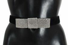 NWT $600 DOLCE & GABBANA Belt Black Suede Swarovski Crystal Waist s. 70cm / 28in
