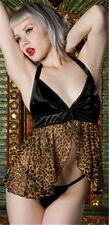 NEW Lip Service Cat's Play Sexy Babydoll Set Black/Leopard Lingerie Pin Up XS