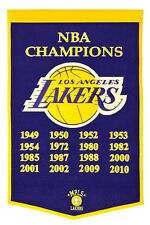 """Los Angeles Lakers  24"""" x 36"""" Genuine Wool NBA Champions Dynasty Banner"""