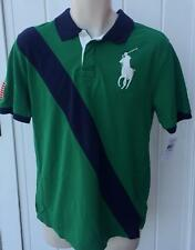 Ralph Lauren polo boys xl 18 20 big pony mesh shirt green blue white usa flag
