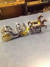 Vintage Antique Stanley Toys Cast Iron Horse-Drawn Carriage Buggy Wagon