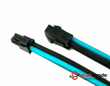 4 Pin ATX EPS 30cm PSU Extension Cable Black Blue Sleeved Power Supply Shakmods