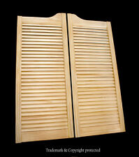 "CAFE DOOR PINE LOUVERED 24""W Saloon Swinging Pub Bar Western with Gravity Hinges"