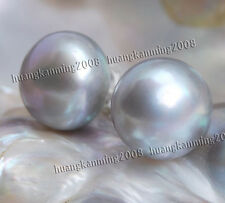10-11mm Grey  Akoya Cultured Pearl Earring Silver Stud J05