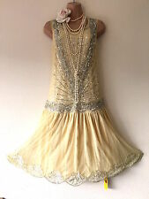 JOANNA HOPE 20S CHARLESTON DECO DOWNTON FLAPPER BEAD/SEQUIN/EMBELLISH DRESS 14