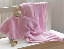 KNITTING PATTERN - LOVELY BABY SET BLANKET & CARDIGAN  ARAN  6 MONTHS - 3 YEARS