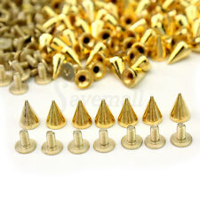 100x 10mm Gold Spots Cone Screw Metal Studs Leathercraft Rivet Bullet Spikes