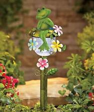 3-D BLOOM FLOWER SOLAR LIGHT FROG GARDEN STAKE YARD LAWN OUTDOOR HOME DECOR