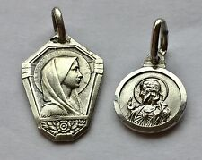 925 Sterling Silver Religious Medal Madonna G Contaux Signed