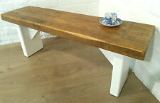 X-Wide F&B Painted 4ft Rustic Reclaimed Old Pine Dining Plank Table Chair BENCH