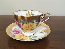 Princess Anne Bone China 5384 Rose with Brushed Gold Tea Cup & Saucer ~ England