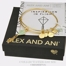 Authentic Alex and Ani Inspiration in Flight, green, Yellow Gold Bangle CBD