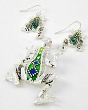FROG pendant set in silvertone, blue and green