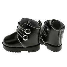 Pair of PU Leather Cool Martin Boots Shoes for 1/3 1/4 BJD SD Dolls Black