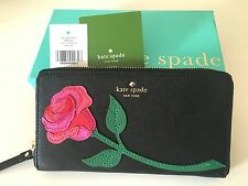 NWT Kate Spade Black Rose Colored Floral Glasses Applique Lacey Leather Wallet