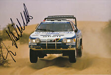 Ari Vatanen Hand Signed 12x8 Photo Peugeot 405 Paris Alger Dakar 1988.