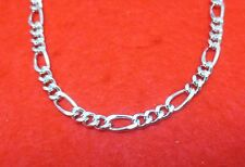 "20"" 14K WHITE GOLD EP 8MM FIGARO 3/1 CHAIN NECKLACE"