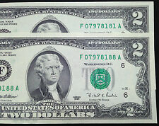 TWO $2 Two Dollar Bills, Crisp Uncirculated, Cool Serial #s 07978181 & 07978188