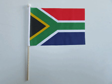 "SOUTH AFRICA Handwaving Flag 9"" x 6"" Polyester Flag 12"" Wooden Pole"