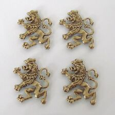 4 Antique Gold - Brass Scottish Lion Stampings 14x18mm