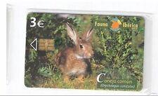 Carta telefonica Spagna   Fauna Iberica Coniglio Conejo in blister