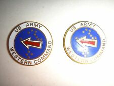2 US Army WESTERN COMMAND Metal Badges With Flat Backs