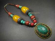 N4527 TIBET Gypsy Amber Resin Bone wood colorful beads PENDANT Necklace Jewelry