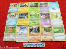 LOT 15 CARTES POKEMON DIFFERENTES SANS DOUBLE NI EX, 7 ESPECE PSY EAU TERRE FEU