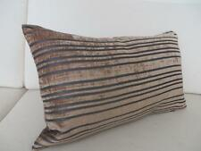 Quality Satin & Velvet Brown/Charcoal Striped Rectangle Cushion Cover 30x50cm