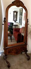 Antique American or French Walnut Framed Cheval Dressing Mirror, c.1890-1910