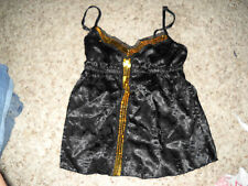 NWT junior's CHARLOTTE RUSSE Black Satin/Gold Sequined Cami Tank Size s
