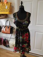 Size 12 Tunic Dress by Evie Black/Red/Green/Blue/Pink Floral Print & Gold Studs