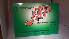 JAP stationary engine display board. Rally sign. Workshop, Garage