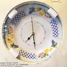 "Ceramic Plate with Painted Fruits Wall Clock Battery Powered, 10.5"" - NIB"