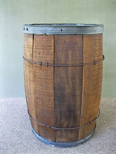 "Antique Barrel, Storage Primitive 18"" Tall Country Wood Metal Bands"