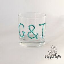 Sparkle Gin & Tonic G&T Tumbler Glass Teal Blue