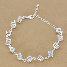Chain Bracelet Add Crystal Bangle Wholesale  Silver Square String