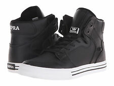NEW NEW SUPRA VAIDER BLACK WHITE LEATHER SURF MX SNOW SKATEBOARD SPORTS SHOES 10