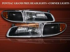 1997-2003 PONTIAC GRAND PRIX CRYSTAL BLACK HEADLIGHTS + AMBER CORNER LAMPS