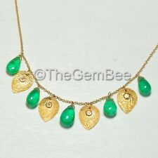 18K Solid Yellow Gold Champagne Diamond Emerald Necklace