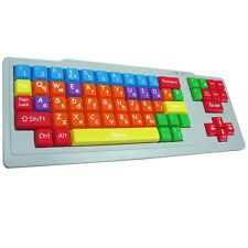 KIDS USB COLOUR CODED DUAL CASE PC KEYBOARD EDUCATIONAL BIG KEYS UPPER LOWER